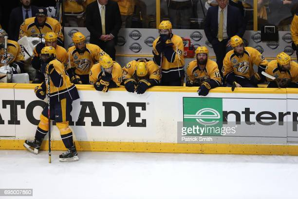 The Nashville Predators react after falling to the Pittsburgh Penguins 20 in Game Six of the 2017 NHL Stanley Cup Final at the Bridgestone Arena on...