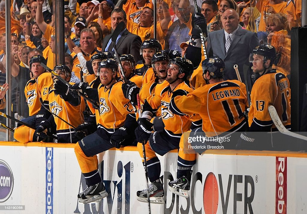 The Nashville Predators react in the final seconds of Game Five of the Western Conference Quarterfinals moments before eliminating the Detroit Red Wings from the 2012 NHL Stanley Cup Playoffs at the Bridgestone Arena on April 20, 2012 in Nashville, Tennessee.