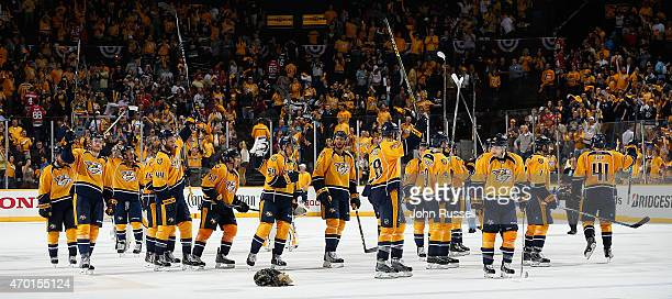 The Nashville Predators salute the fans after defeating the Chicago Blackhawks 62 in Game Two of the Western Conference Quarterfinals during the 2015...