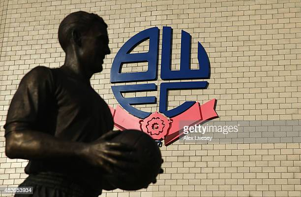 The Nat Lofthouse statue is seen outside the stadium prior to the Capital One Cup first round match between Bolton Wanderers and Burton Albion at...
