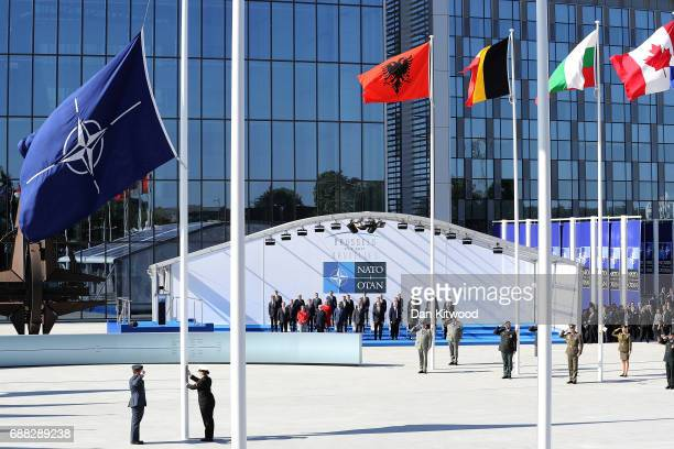 The NATA flag is raised during the NATA Summit Opening ceremony on May 25 2017 in Brussels Belgium The North Atlantic Treaty Organisation is made up...