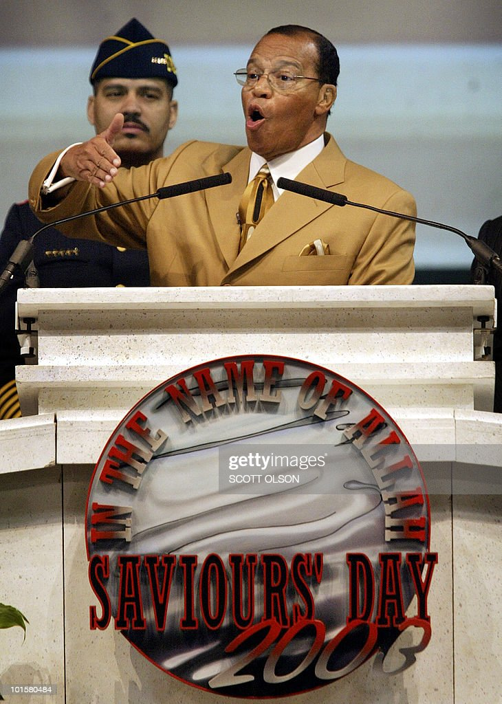 The Nation of Islam leader Minister Louis Farrakhan speaks to his followers during his Saviours Day address in Chicago 23 February, 2003. During his address, Farrakhan denounced the administration of US President George W. Bush and possible war with Iraq.. AFP PHOTO/Scott OLSON