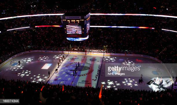 The national anthem is performed before the game between the Anaheim Ducks and the Vancouver Canucks on January 25 2013 at Honda Center in Anaheim...