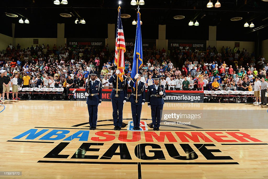The National Anthem is performed before the game between the Cleveland Cavaliers and the Los Angeles Lakers during NBA Summer League on July 12, 2013 at the Cox Pavilion in Las Vegas, Nevada.
