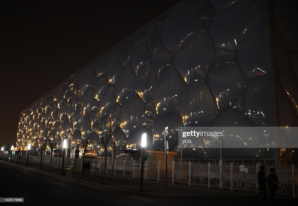 The National Aquatics Centre, also known as the Water Cube, is seen during the Earth Hour 2011 power switch off on March 31, 2012 in Beijing, China. About 124 Chinese cities joined a WWF worldwide initiative Earth Hour this year.