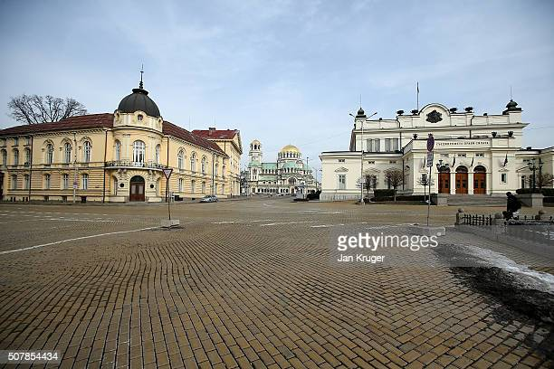 The National assembly building and Alexander Nevsky Cathedral on January 31 2016 in Sofia Bulgaria