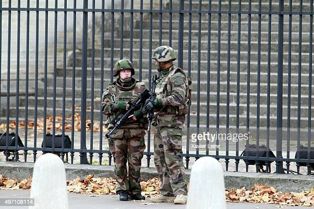 The National Assemby is secured by the French Army for security reasons on November 14 2015 in Paris France At least 120 people have been killed and...