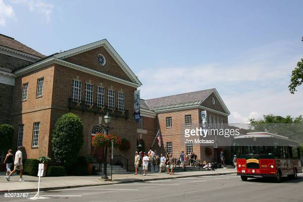 The National Baseball Hall of Fame and Museum is seen during the Baseball Hall of Fame weekend on July 26 2008 in Cooperstown New York