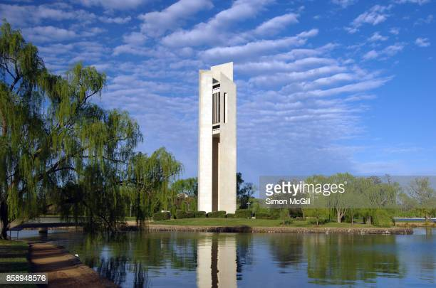 The National Carillon situated on Aspen Island in Canberra, Australian Capital Territory, Australia