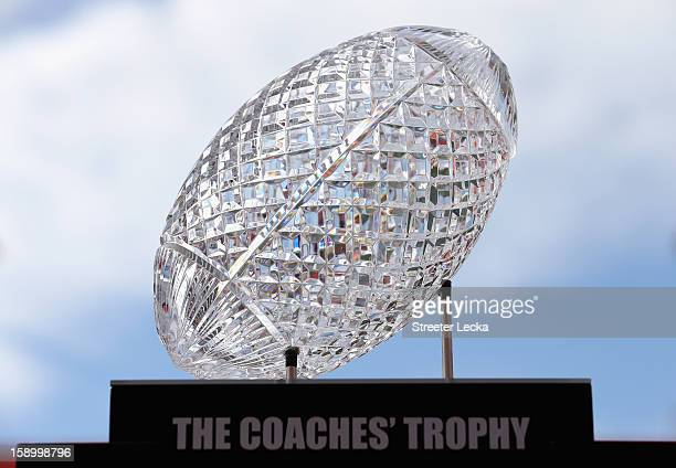 The National Championship trophy sits on display during Media Day ahead of the Discover BCS National Championship at Sun Life Stadium on January 5...
