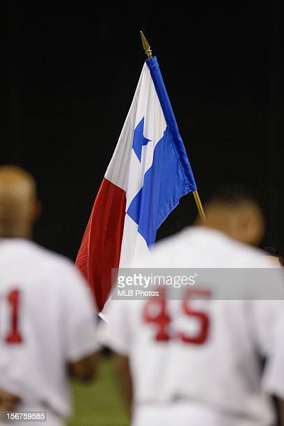 The national flag of Panama is seen on the field in front of the players during the pregame ceremony before Game 4 of the Qualifying Round of the...