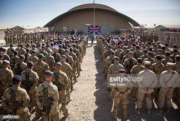 The national flag of the United Kingdom is displayed as British troops and service personal remaining in Afghanistan are joined by International...