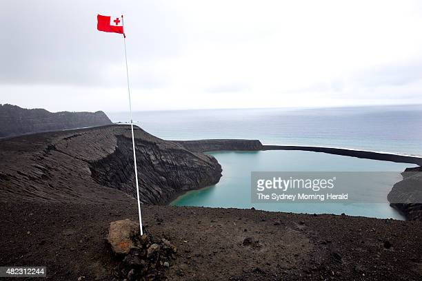 The national flag of Tonga flies over the newest island on Earth July 10 2015 The island emerged from the waters of the South Pacific in January 2015...
