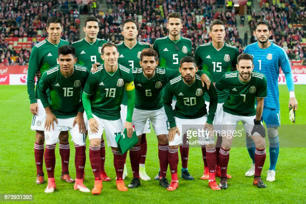 The national football team of Mexico pictured during the International Friendly match between Poland and Mexico at Energa Stadium in Gdansk Poland on...
