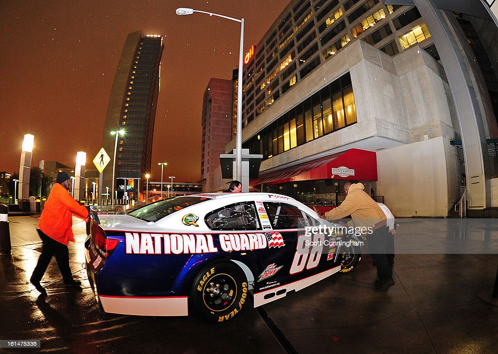 The #88 National Guard Chevrolet driven by Dale Earnhardt, Jr. (not pictured) prepares to enter the CNN Center during the Road to Daytona Fueled By Sunoco Tour on February 11, 2013 in Atlanta, Georgia.