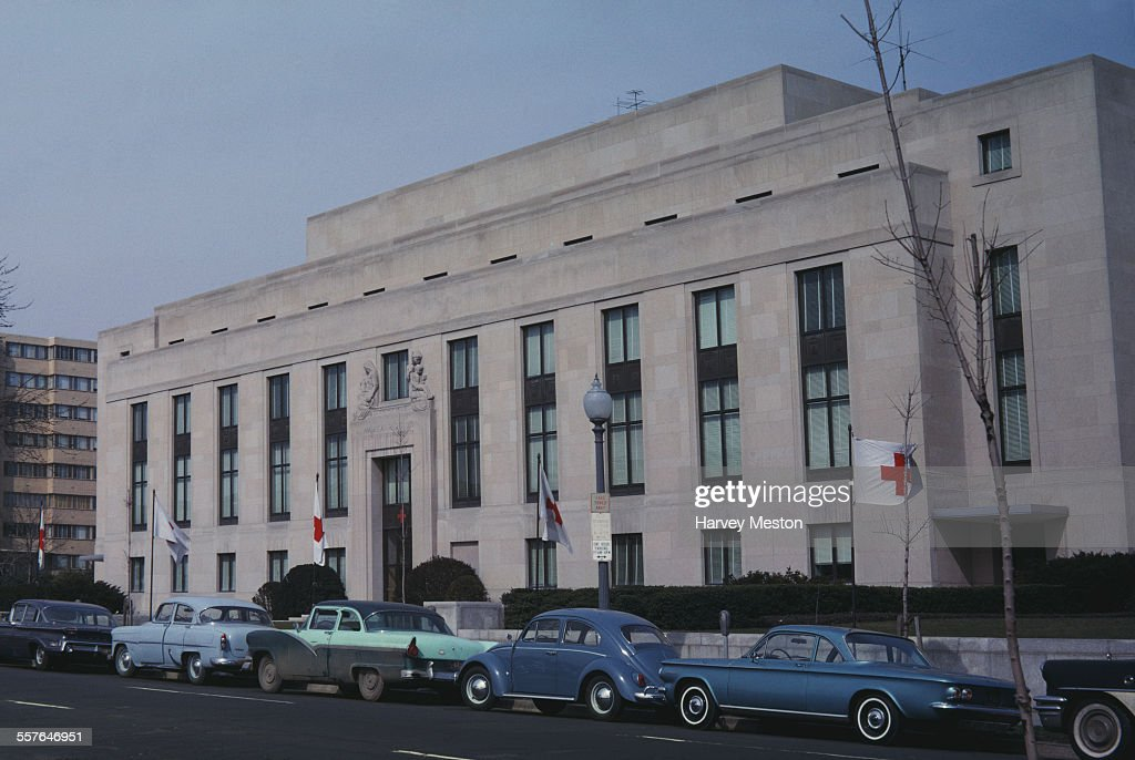 The National Headquarters of the American Red Cross at 2025 E St NW in Washington DC circa 1965