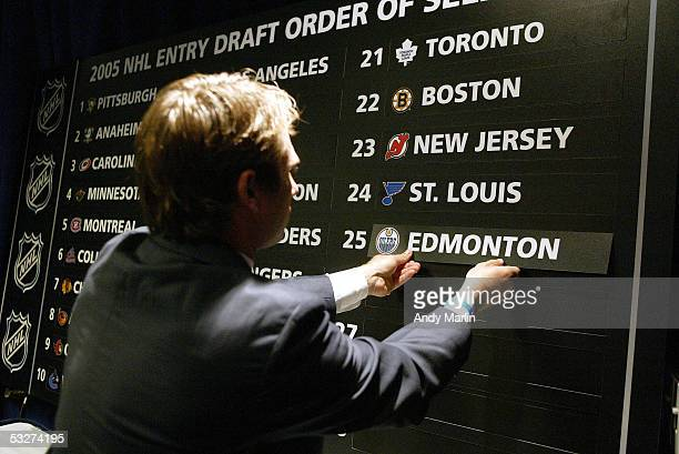 The National Hockey League draft lottery board is seen after the ball selection at the Sheraton New York Hotel and Towers on July 22 2005 in New York...