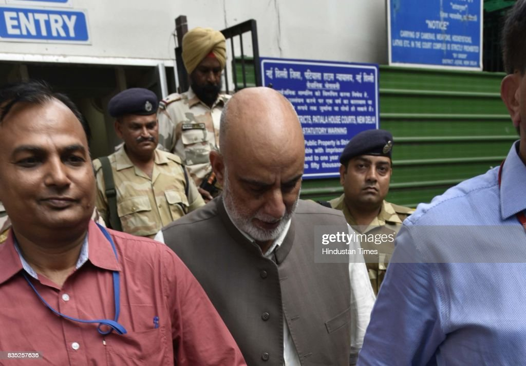 The National Investigation Agency arrest Kashmiri businessman Zahoor Watali for alleged involvement in a terror funding case and produce at Patiala House Court on August 18, 2017 in New Delhi, India. NIA says raids have unearthed incriminating material on receipt of foreign funds by Zahoor Watali and their distribution to Kashmiri separatists for anti-India activities.