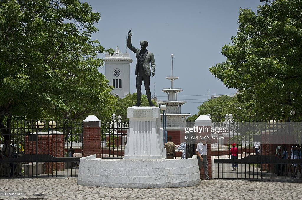 The National Jamaican hero Norman Washington Manley monument is seen at the entrance of the Saint William Grand Park in downtown Kingston, June 28, 2012. Jamaica will celebrate its 50th anniversary as an independent state on August 6, 2012.