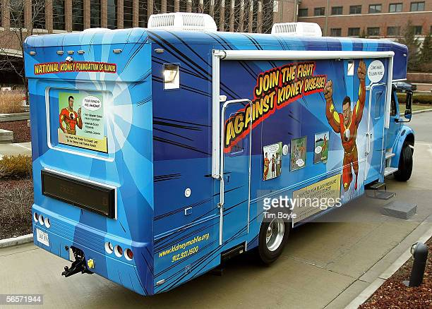 The National Kidney Foundation's KidneyMobile is parked outside Evanston Hospital January 11 2006 in Evanston Illinois The KidneyMobile was to...