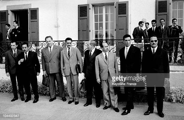 The National Liberation Front's delegation at the Villa du Bois d'Avault in Geneva before leaving for the first negotiations at Evian 3rd from left...