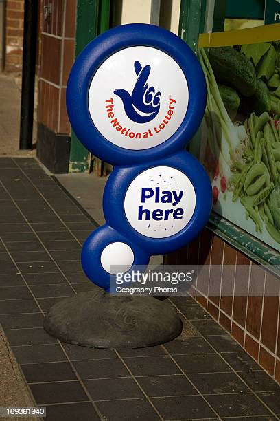 The National Lottery advertising stand outside shop
