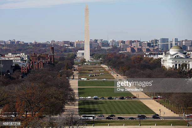 The National Mall and Washington Monument is seen from the rooftop of the US Capitol November 18 2014 in Washington DC