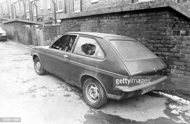 The National Miners Strike 1985 The damaged car owned by working miner Malcolm Gowland 13 February 1985