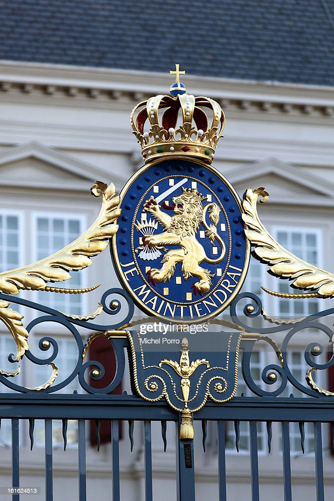 The national motto or slogan of the royal family of Orange-Nassau of The Netherlands with the wording Je Maintiendrai (I will Maintain) decorates the gate of the Noordeinde Palace on February 13, 2013 in The Hague, Netherlands. The coronation Of Prince Willem Alexander will happen on April 30