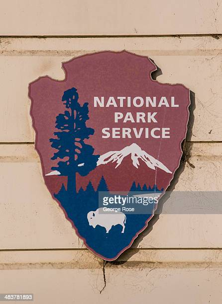 The National Park Service logo adorns the outside of the Warming Hut at Golden Gate National Park on April 2 in San Francisco California San...