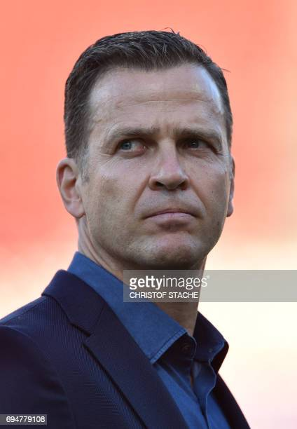 The national soccer team manager of Germany Olivier Bierhoff waits prior the WC 2018 qualification match between Germany and San Marino in the...