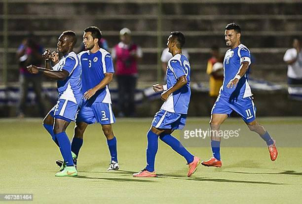 The National Soccer Team of Nicaragua celebrate a goal against the National selection of Anguilla at the National Soccer Stadium in Managua on March...