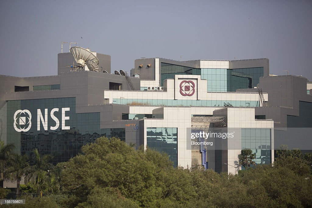 The National Stock Exchange of India (NSE) stands in the Bandra Kurla Complex in Mumbai, India, on Tuesday, Nov. 6, 2012. Reserve Bank of India Governor Duvvuri Subbarao lowered the RBI's forecast for India's gross domestic product growth in the year through March to 5.8 percent, the slowest in almost a decade, from 6.5 percent. Photographer: Brent Lewin/Bloomberg via Getty Images