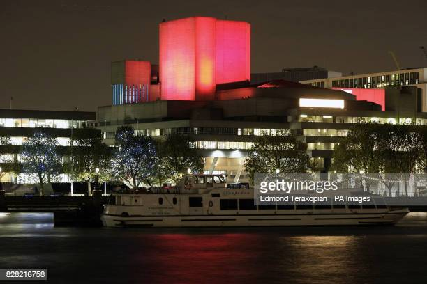 The National Theatre's Lyttelton Tower is bathed in red light to mark Chinese President Hu Jintao's visit to London Tuesday November 8 2005 and to...