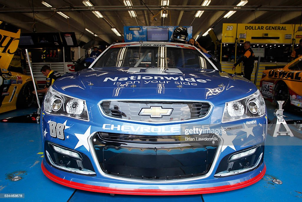 The #88 Nationwide Chevrolet, driven by Dale Earnhardt Jr.(not pictured), sits in the garage area prior to practice for the NASCAR Sprint Cup Series Coca-Cola 600 at Charlotte Motor Speedway on May 27, 2016 in Charlotte, North Carolina.