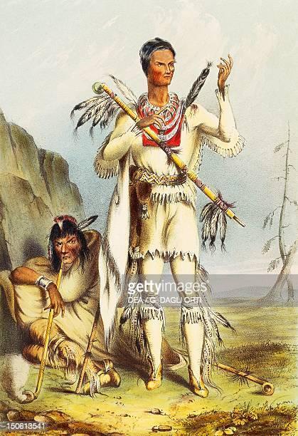 The Native American Winnbago known as Redbird coloured engraving Native American Civilization United States 19th century