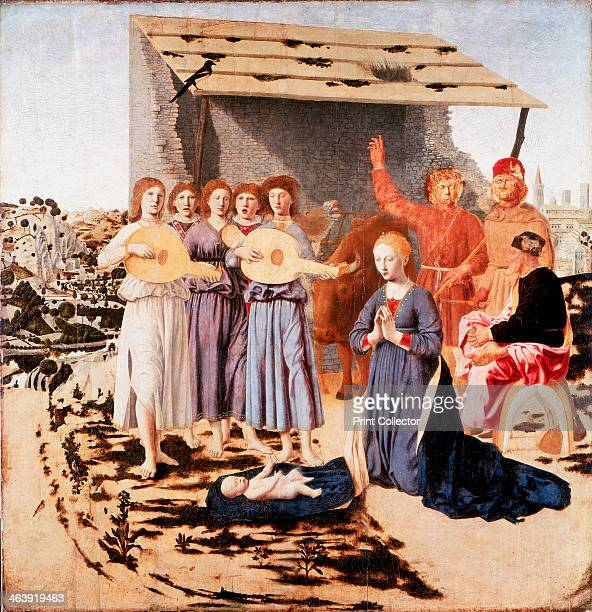 'The Nativity' 14701475 The Virgin in a blue robe kneels before the infant Jesus lying on the corner of her cloak St Joseph sits on a saddle and...