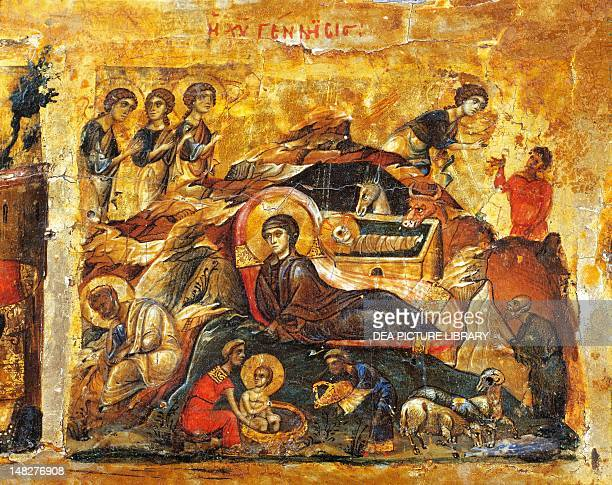 The Nativity detail from the Deisis with the twelve feasts 11th century Byzantine art oil on panel Sinai Monastero Di Santa Caterina Museo