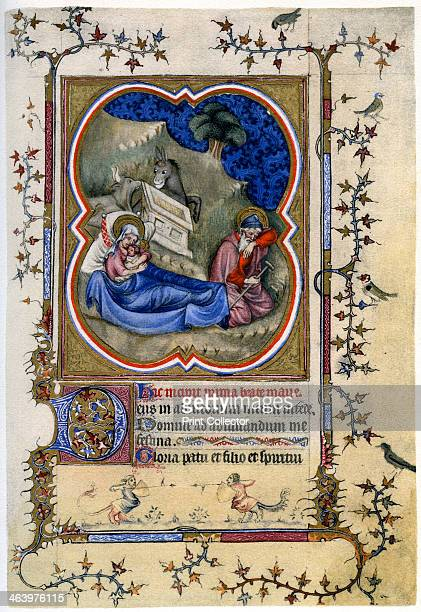 The Nativity from a Book of Hours and Missal c1370 A print from 'The Fitzwilliam Museum An Illustrated Survey' By Trianon Press 1958