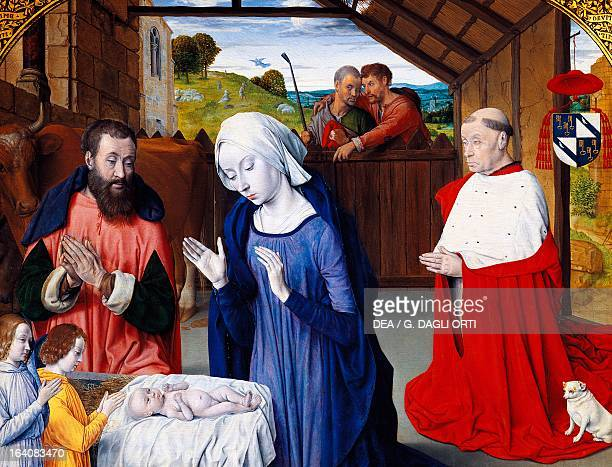 The Nativity with Cardinal Jean Rolin dressed as a donor ca 1480 by the Master of Moulins oil on canvas 57x74 cm Autun Musée Rolin