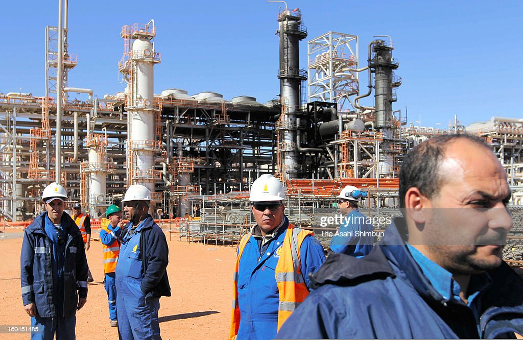 The natural gas plant, partially blackened by explosions, is seen on January 31, 2013 in In Amenas, Algeria. Thirty-seven foreign hostages including 10 Japanese and 29 Islamic militants died.