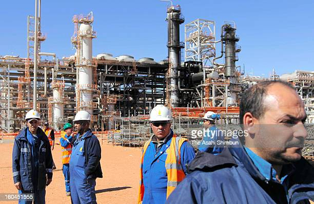The natural gas plant partially blackened by explosions is seen on January 31 2013 in In Amenas Algeria Thirtyseven foreign hostages including 10...