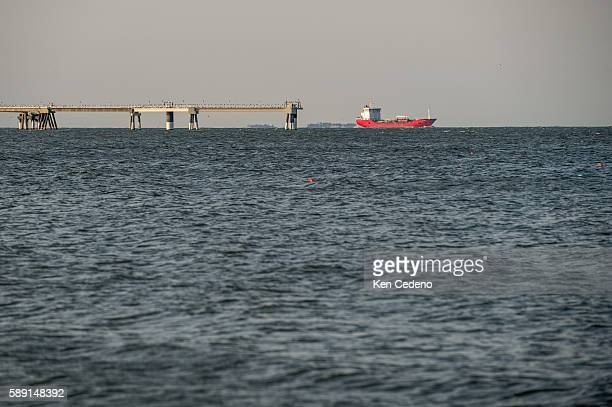 The natural gas processing plant owned by Dominion LNG is seen just off the coast of Cove Point near Lusby MD July 12 2014 The Cove Point facility is...