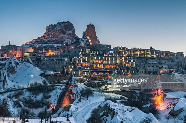 The natural rock citadel of Uchisar in Cappadocia