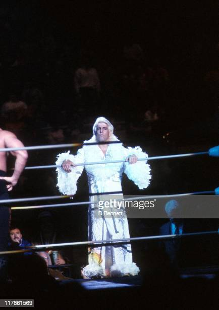 The 'Nature Boy' Rick Flair steps into the ring before his Heavy Weight bout against Road Warrior Hawk during the 1988 Bunkhouse Stampede on January...