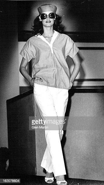 JUN 1 1979 JUL 3 1979 JUL 8 1979 The nautical top in Fortrel polyester bluewhite stripes crisp white pant