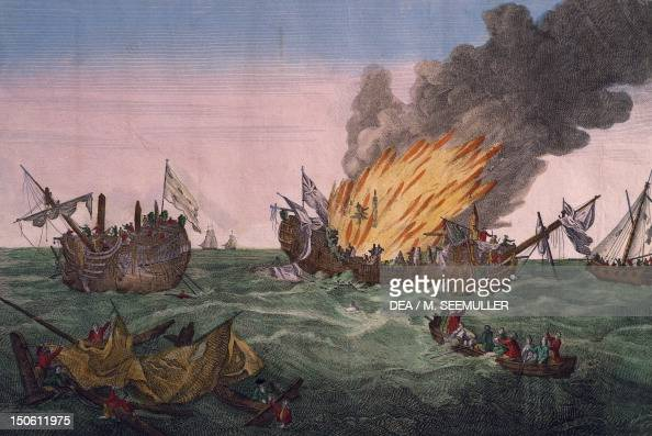 The naval battle between the French frigate Surveillante and the British frigate Quebec October 6 engraving American War of Independence the United...