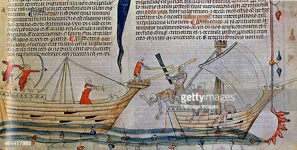 The naval Battle ca 1340 Found in the collection of the Bibliothèque Nationale de France