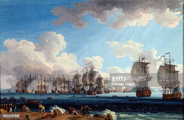 'The Naval Battle of Chesma on 5 July 1770' 18th century Hackert Jacob Philipp Found in the collection of the State Central Navy Museum St Petersburg