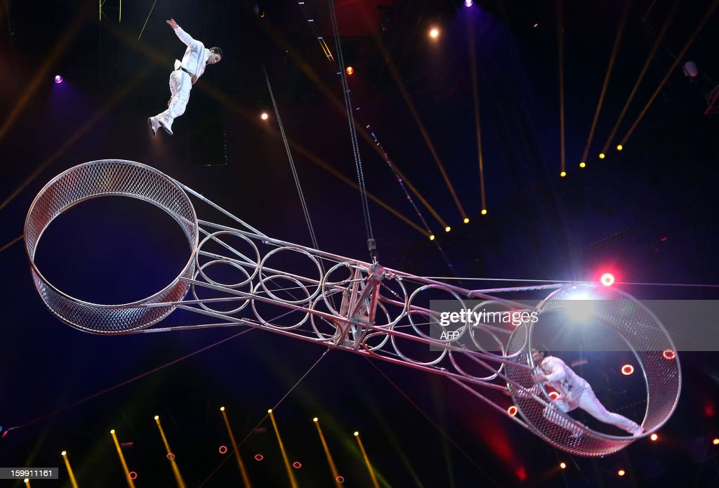The Navas brothers perform during the official Award Gala Evening of the 37th International Circus Festival of Monte Carlo in Monaco, 22 January 2013.